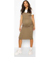 zwangerschap 2-in-1 midi jurk en t-shirt, kaki