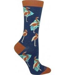 calcetin algodón mujer flamingo azul rockford