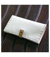 leather wallet, 'urban white' (indonesia)