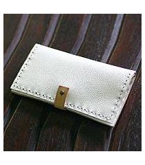 leather wallet, 'urban white' (indonesia)