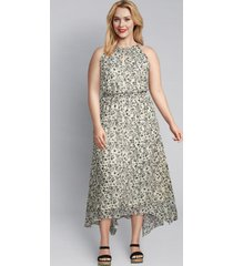 lane bryant women's floral halter-style midi dress 16 black & white floral