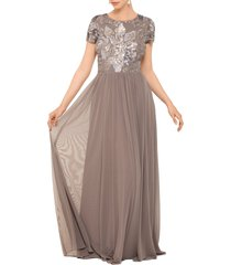 betsy & adam sequin mesh a-line gown, size 10 in taupe at nordstrom