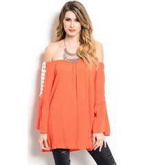 flitry tangerine orange off shoulder boho jrs party cruise top, crochet inset