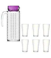 kit 1 jarra de vidro ladrilhos roxa 1,2 litros e 6 copos de vidro sture móveis