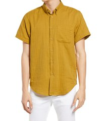 naked & famous denim short sleeve double weave gauze button-down shirt, size small in double weave gauze - turmeric at nordstrom