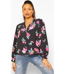 bloemenprint blouse met geplooide zomen, black