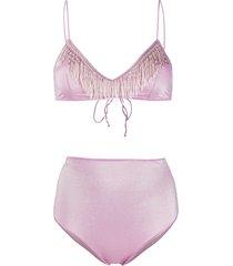 oséree bead-embellished bikini set - purple