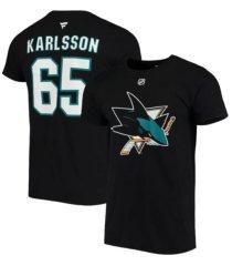 majestic erik karlsson san jose sharks men's authentic stack name & number t-shirt