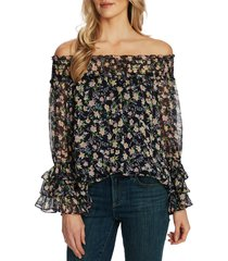 women's cece botanic charm off the shoulder ruffle sleeve top