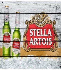 placa decorativa vintage cerveja garrafa branca mdf 28x18cm - cinza - dafiti