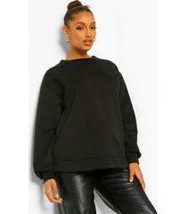zwangerschaps gewatteerde sweater met stiksels en zijsplit, black