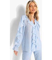 chiffon blouse met ruches en textuur, powder blue