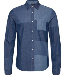 ams blauw denim shirt with patchwork detailing overhemd casual blauw scotch & soda