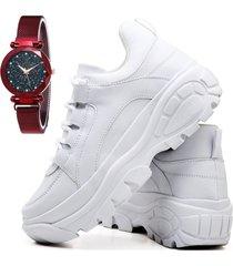 tãªnis sapatãªnis casual plataforma fashion com relã³gio chili feminino dubuy 728el branco - branco - feminino - sintã©tico - dafiti