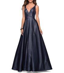 women's la femme v-neck mikado ballgown, size 16 - blue