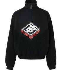 burberry logo graphic neoprene funnel neck track top - black