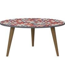 mesa de centro oval 1007 retro espresso/estampa vermelha - bentec