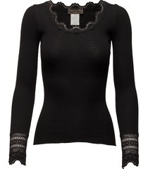 silk t-shirt regular ls w/wide lace t-shirts & tops long-sleeved zwart rosemunde