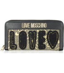 love moschino black eco leather and lurex zip-around womens wallet