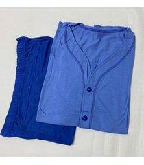 pijama masculino com botã£o camiseta curta e bermuda - multicolorido - masculino - dafiti