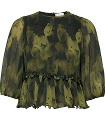 pleated georgette blouse lange mouwen groen ganni