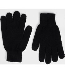 river island mens black knitted gloves