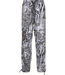 diesel poplin graphic-print trousers - grey
