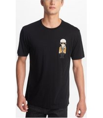 karl lagerfeld paris men's crew neck t-shirt with karl character in gold blazer