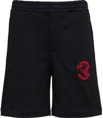 alexander mcqueen black cotton bermuda shorts with logo