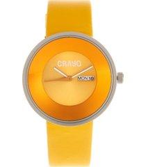 crayo unisex button yellow genuine leather strap watch 40mm