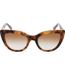longchamp roseau 51mm gradient cat eye sunglasses in vintage havana/light brown at nordstrom