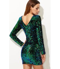 club bodycon dress low back iridescent green sequins long sleeve party event new