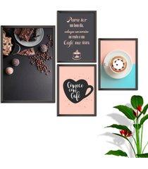 kit conjunto 4 quadro oppen house s frases comece com café lojas cafeteria xícaras grãos moldura preta decorativo interiores sem vidro
