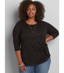 lane bryant women's side-tie foil-dot top 26/28 black