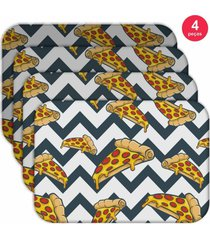 jogo americano - love deco pizza geometric kit com 4 peã§as - multicolorido - dafiti