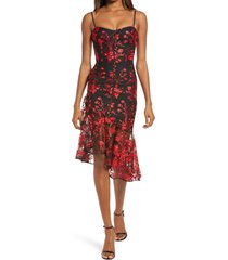 dress the population cantrelle asymmetrical hem cocktail dress, size large in lipstick red multi at nordstrom