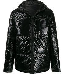 karl lagerfeld vinyl padded jacket - black