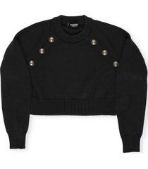 balmain cotton sweater with embossed buttons