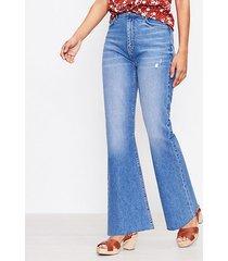 loft curvy fresh cut high rise sandal flare jeans in staple mid indigo wash