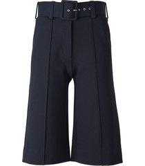 belted jersey bermuda shorts