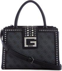 guess logo bling society signature satchel