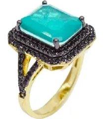 anel esmeralda pedra fusion cravejado com cristais zircã´nias negras e detalhe lateral banhado a ouro 18k - verde - feminino - dafiti