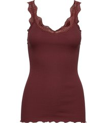 organic top regular w/ lace t-shirts & tops sleeveless röd rosemunde
