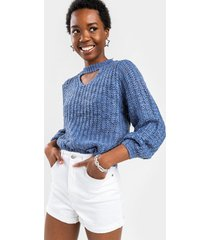 women's melody cut out sweater in ivory by francesca's - size: l