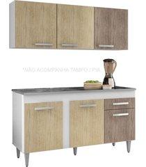 armário aéreo parma e balcão gabinete de pia montreal 150cm branco/carvalho/castanho - lumil móveis