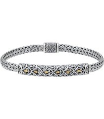 dragon skin bali filigree with woven dragon bone oval chain bracelet in sterling silver and 18k gold