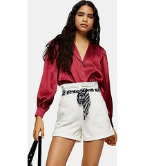 white denim paperbag shorts with scarf belt - ecru
