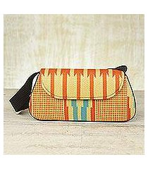 cotton kente shoulder bag, 'glamorous orange' (ghana)