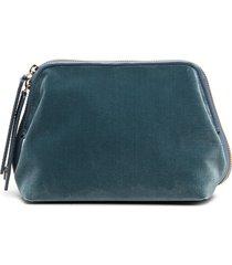 l'autre chose small velvet clutch bag - blue