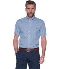 campbell casual shirt met korte mouwen blauw